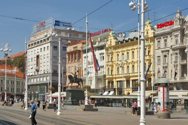 Quadrado de cidade central de Zagreb fotos de stock royalty free
