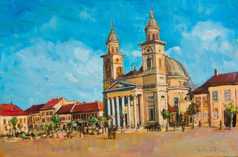 Quadrado de cidade de Satu Mare imagem de stock