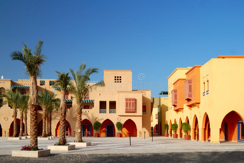 Quadrado de cidade em EL-Gouna fotografia de stock royalty free