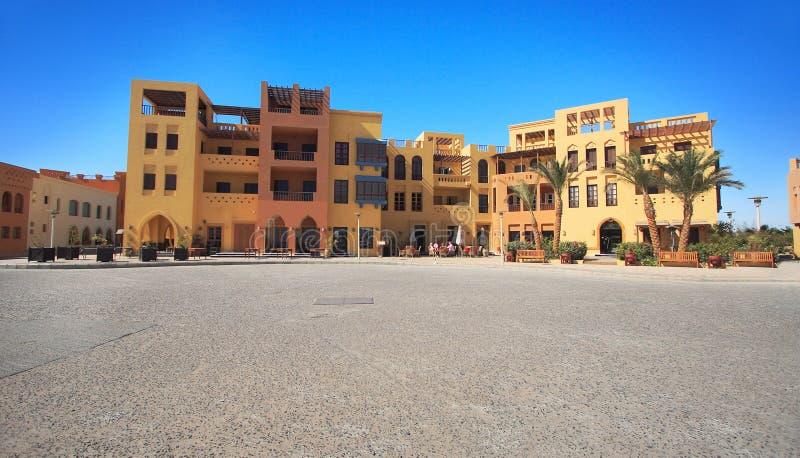 Quadrado de cidade em EL-Gouna fotografia de stock