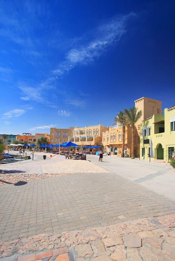 Quadrado de cidade em EL-Gouna fotos de stock royalty free
