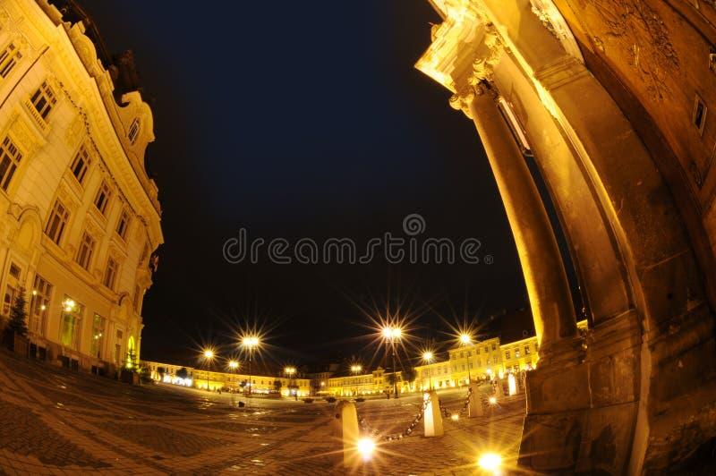 Quadrado de cidade, Sibiu, Romania fotos de stock royalty free