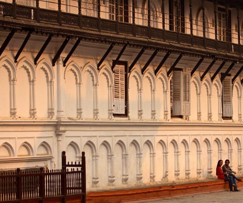 Quadrado de Durbar, Kathmandu, fim da tarde imagens de stock royalty free