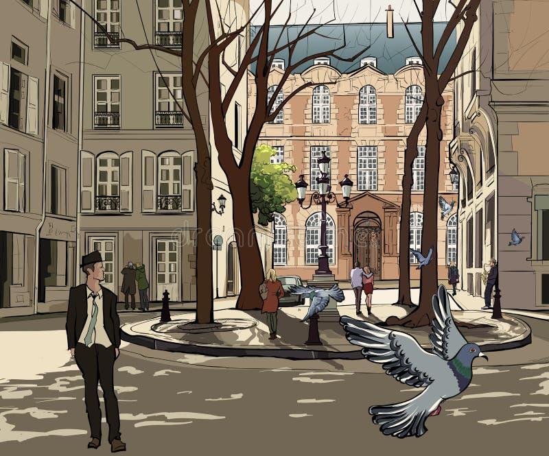 Quadrado de Furstemberg em Paris ilustração royalty free
