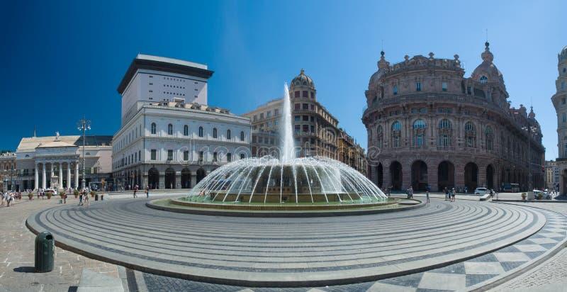 Quadrado de Genoa (Genebra) De Ferrari o coração da cidade fotos de stock