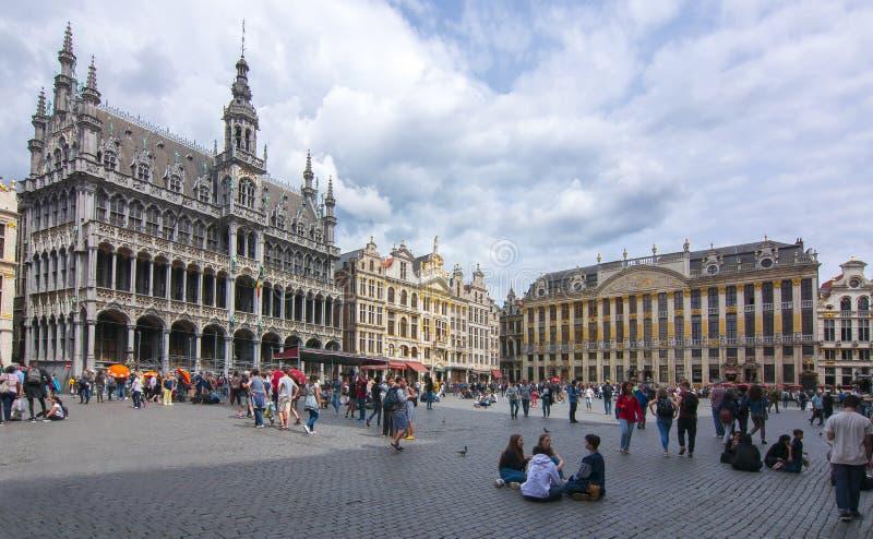 Quadrado de Grand Place no centro de Bruxelas, Bélgica imagens de stock royalty free