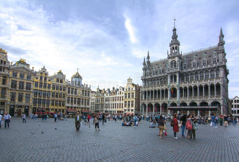 Quadrado de Grand Place no centro de Bruxelas, Bélgica fotos de stock