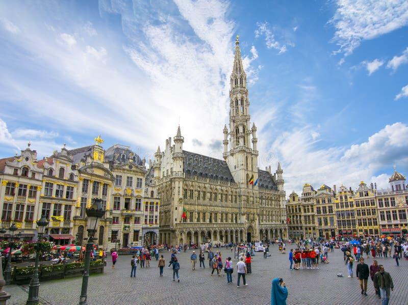 Quadrado de Grand Place no centro de Bruxelas, Bélgica fotografia de stock