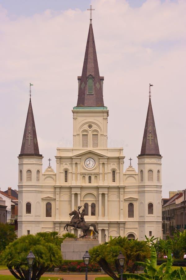 Quadrado de Jackson e catedral de St Louis, Nova Orleães fotos de stock royalty free