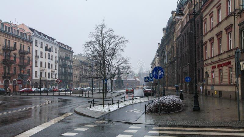 Quadrado de Jan Matejki em Krakow fotografia de stock