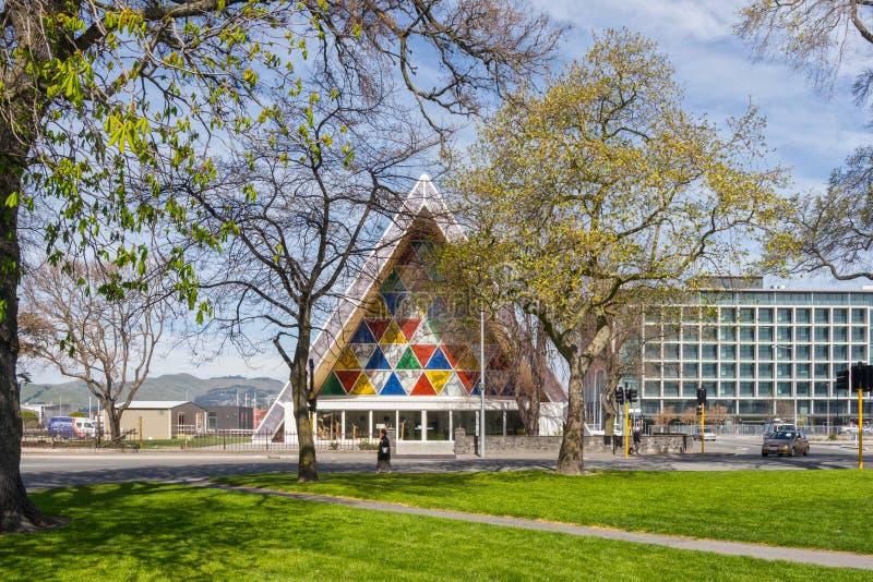 Quadrado de Latimer e catedral do cartão, Christchurch NZ imagem de stock royalty free