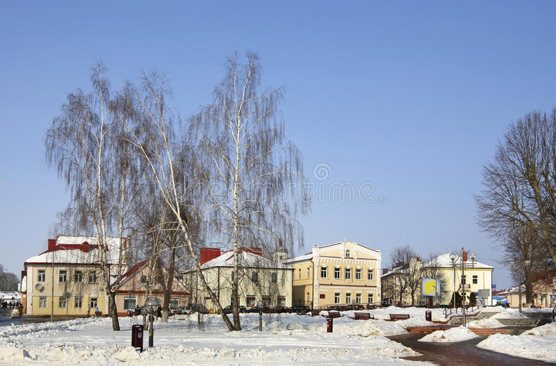 Quadrado de Lenin em Slonim belarus foto de stock