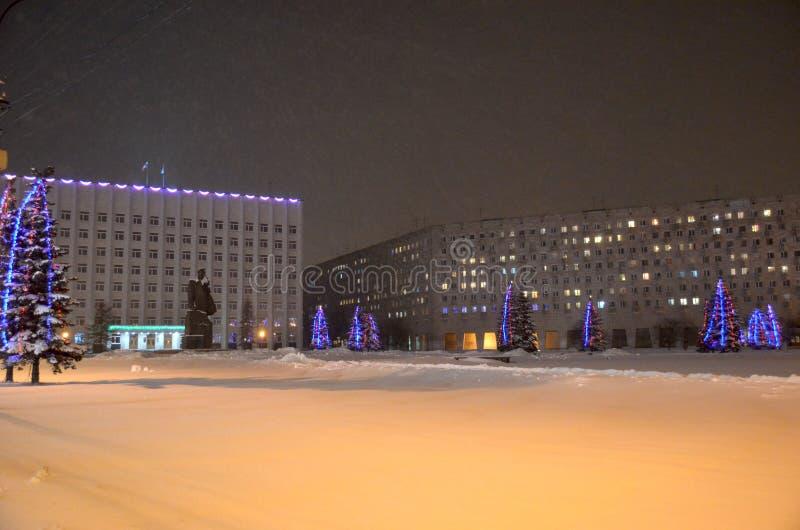 Quadrado de Lenin no inverno que nivela Arkhangelsk Rússia fotos de stock