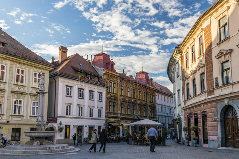 Quadrado de Ljubljana imagens de stock