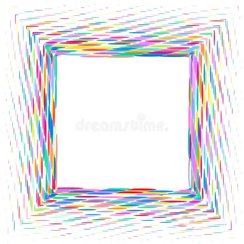 Quadrado de ovals e de pontos coloridos ilustração royalty free