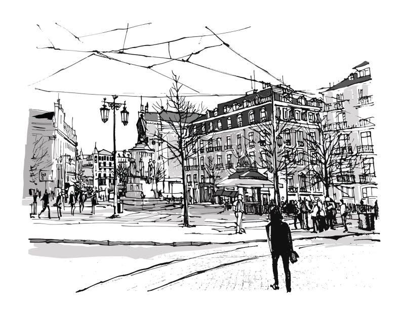 Quadrado de Portugal, Lisboa Chiado ilustração stock