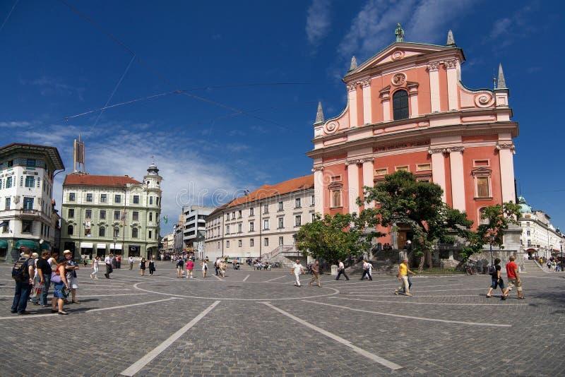 Quadrado de Preseren, Ljubljana imagem de stock royalty free