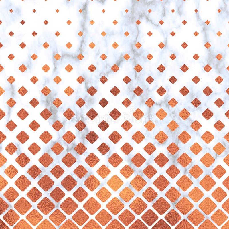 Quadrado de Rose Gold no fundo de mármore, textura de Rose Gold Teste padrão de mármore geométrico de Rose Gold Papel de parede d ilustração do vetor