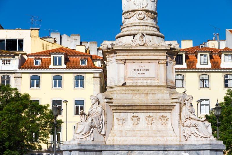 Quadrado de Rossio em Lisboa, em Portugal foto de stock royalty free