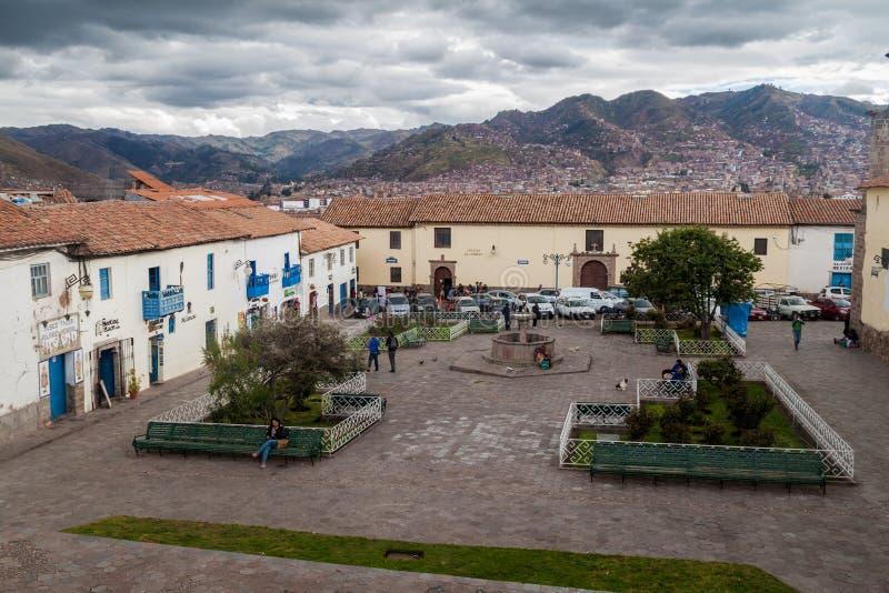 Quadrado de San Blas em Cuzco, Peru foto de stock