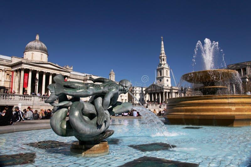 Quadrado de Trafalgar em Londres fotos de stock royalty free