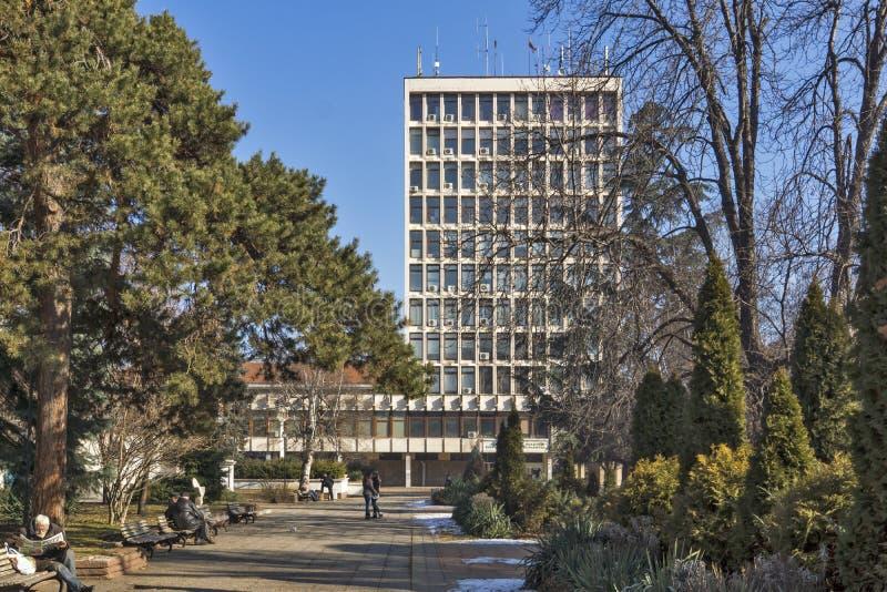 Quadrado de Velbazhd na cidade de Kyustendil, Bulgária fotos de stock royalty free