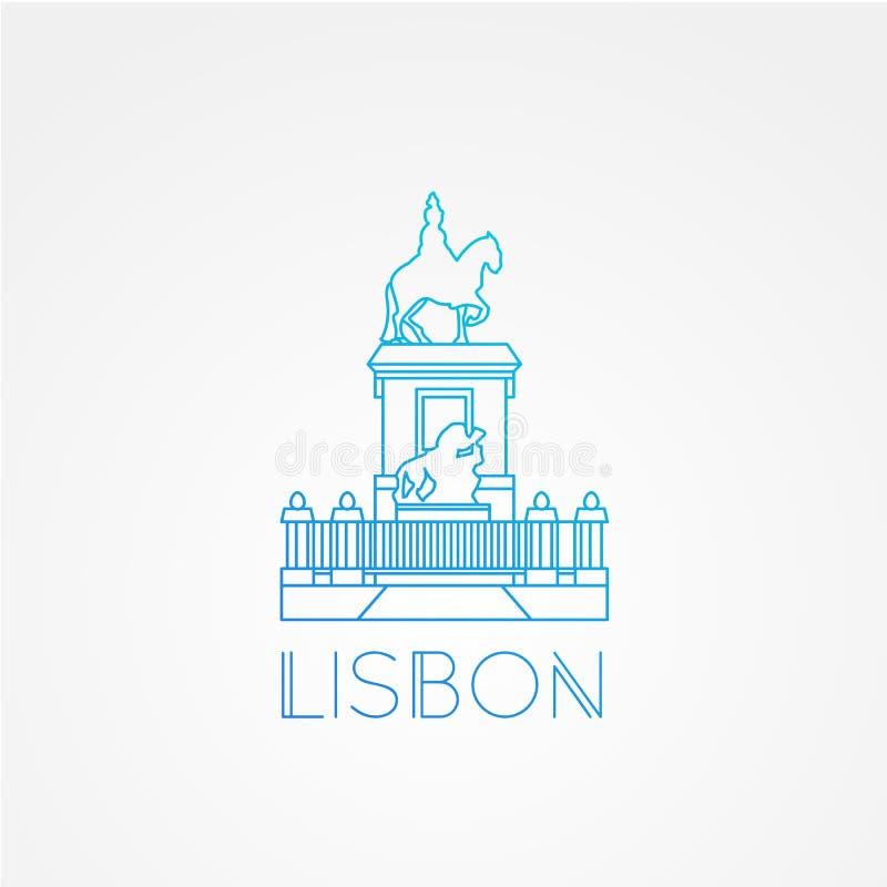 Quadrado do comércio com a estátua do rei Jose Eu - o símbolo de Lisboa Portugal ilustração royalty free
