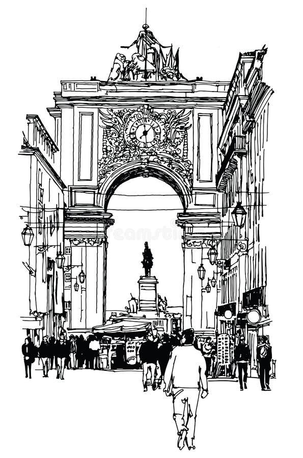 Quadrado do comércio em Lisboa ilustração do vetor