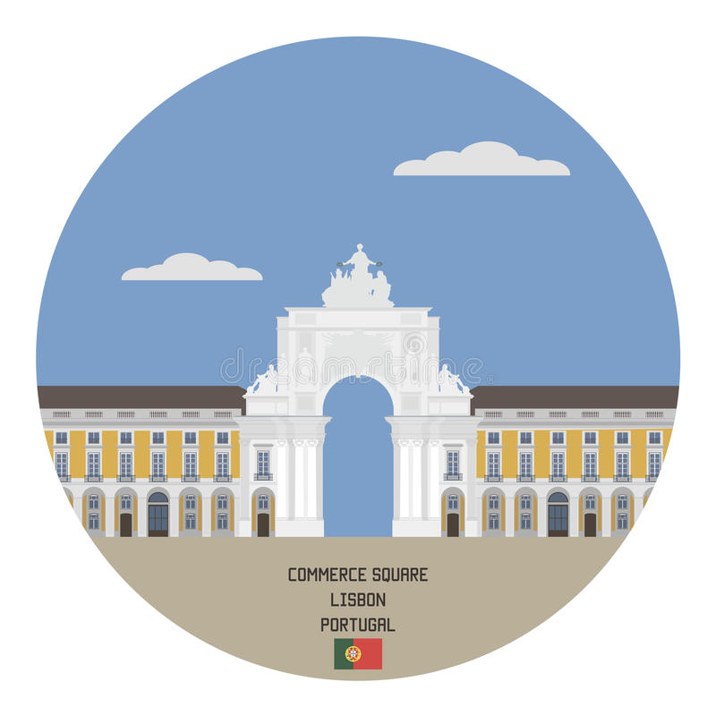 Quadrado do comércio Lisboa, Portugal ilustração royalty free