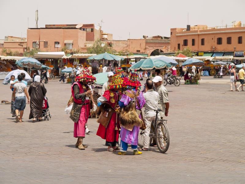 Quadrado do EL Fna de Jemaa, C4marraquexe, Marrocos imagens de stock