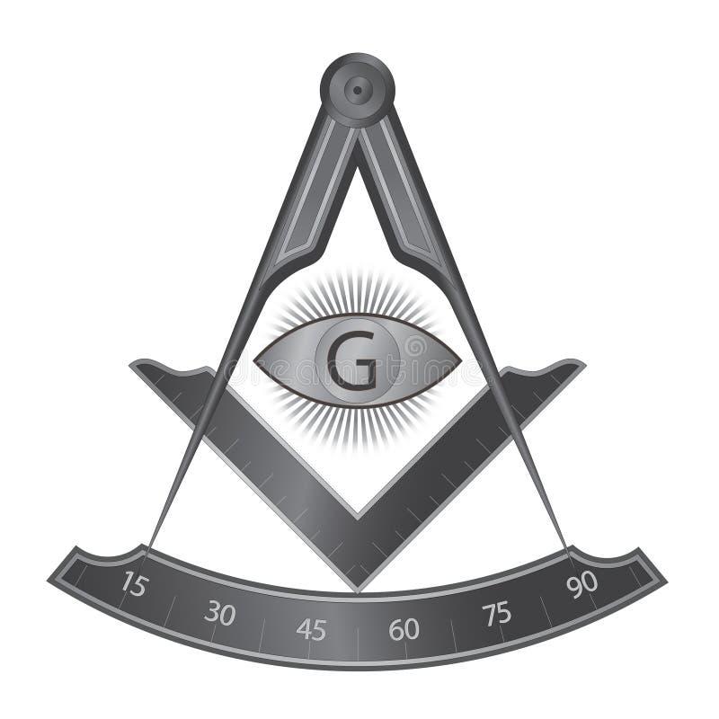 Quadrado do ferro preto e símbolo maçônicos do compasso ilustração stock