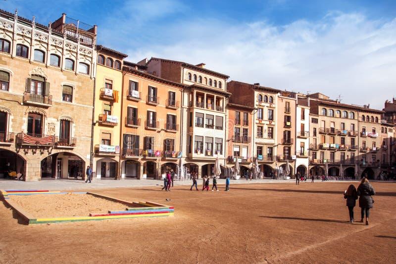 Quadrado do major de Placa em Vic, Espanha fotos de stock