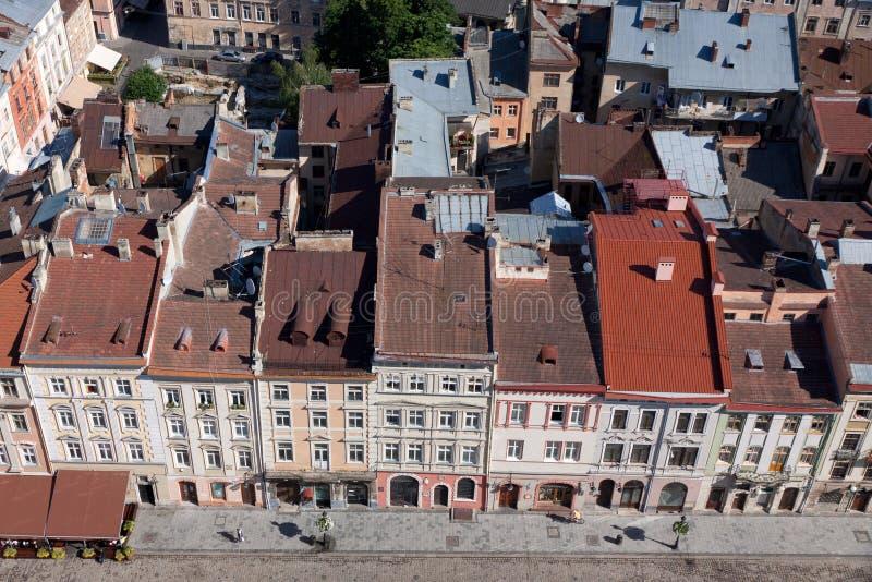 Quadrado do mercado na cidade de Lviv fotos de stock royalty free