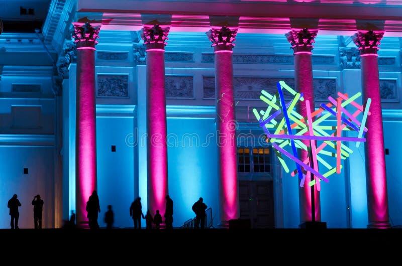 Quadrado do Senado de Helsínquia iluminado imagens de stock