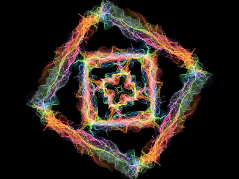 Quadrado do sumário do arco-íris, teste padrão redondo da chama decorativa no fundo preto Tema da ioga ilustração do vetor