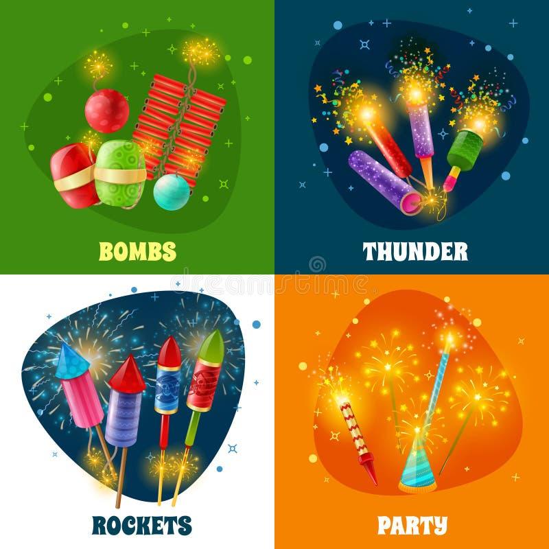 Quadrado dos ícones de Rockets 4 dos biscoitos do fogo de artifício ilustração royalty free