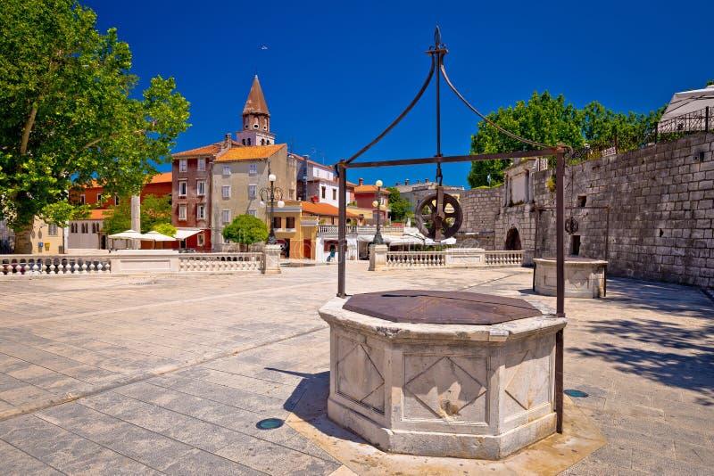Quadrado dos poços de Zadar cinco e opinião histórica da arquitetura fotografia de stock royalty free