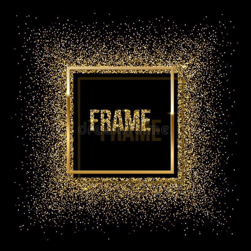 Quadrado dourado com sombra e quadro feito do brilho dourado isolados no fundo preto Quadro dourado do vetor ilustração royalty free