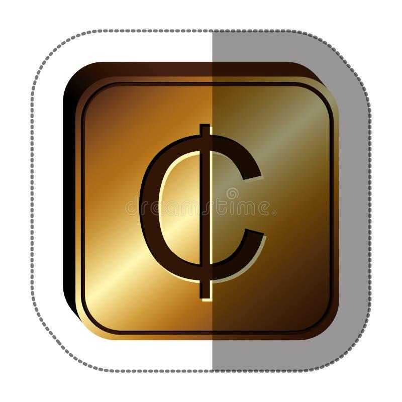 quadrado dourado da etiqueta com símbolo de moeda do centavo ilustração do vetor