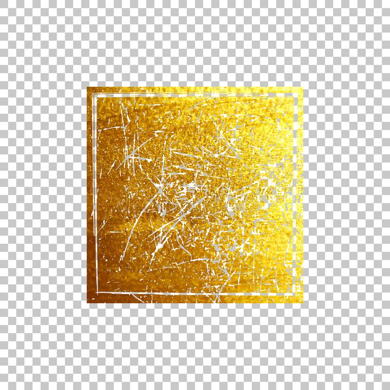 Quadrado dourado do grunge isolado no fundo transparente Elemento do projeto do vetor ilustração stock