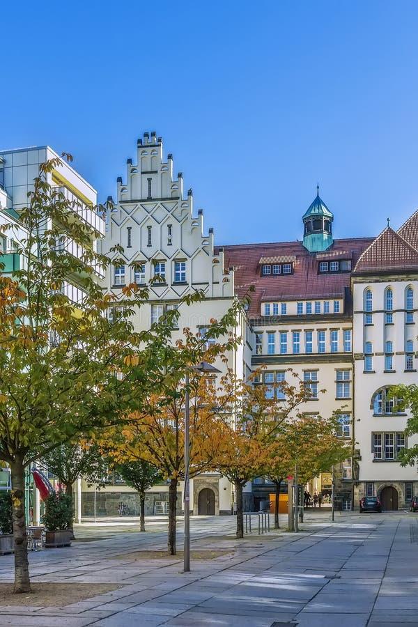 Quadrado em Chemnitz, Alemanha imagem de stock