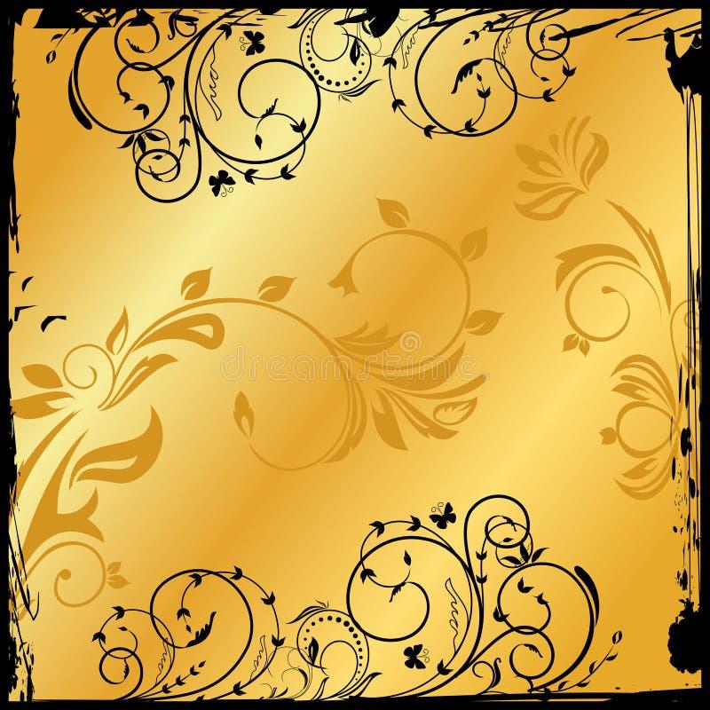 Quadrado floral do ouro ilustração do vetor