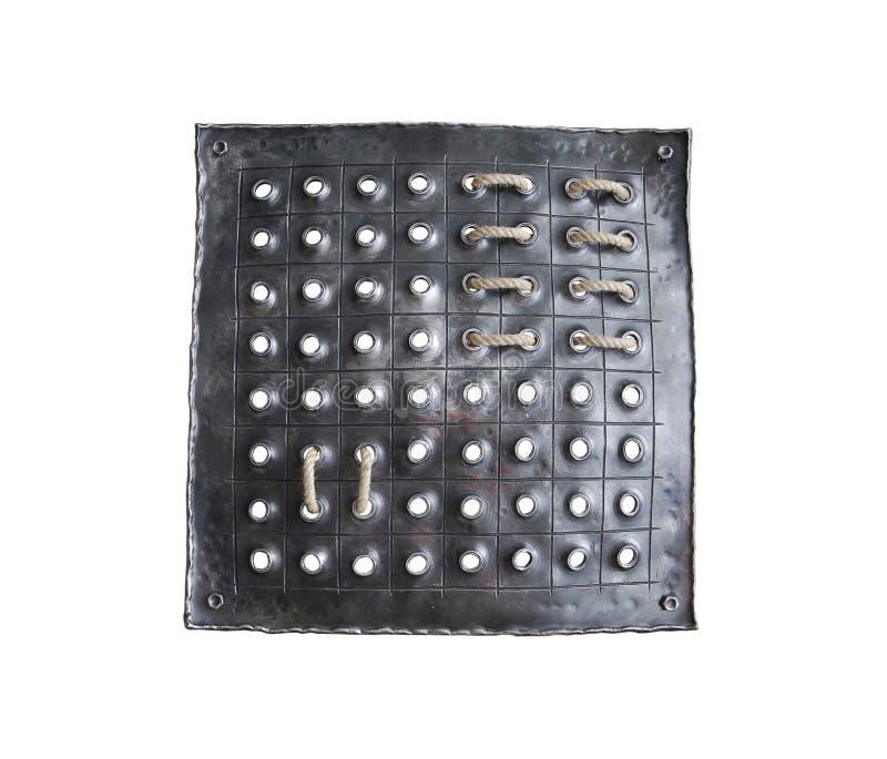 Quadrado forjado ferro com divisão geométrica fotografia de stock