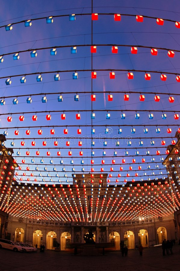 Quadrado iluminado, Turin fotos de stock royalty free
