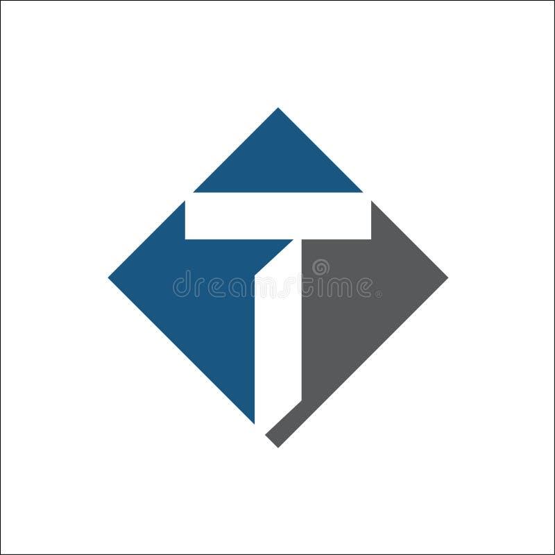 Quadrado inicial do vetor do logotipo de T ilustração royalty free