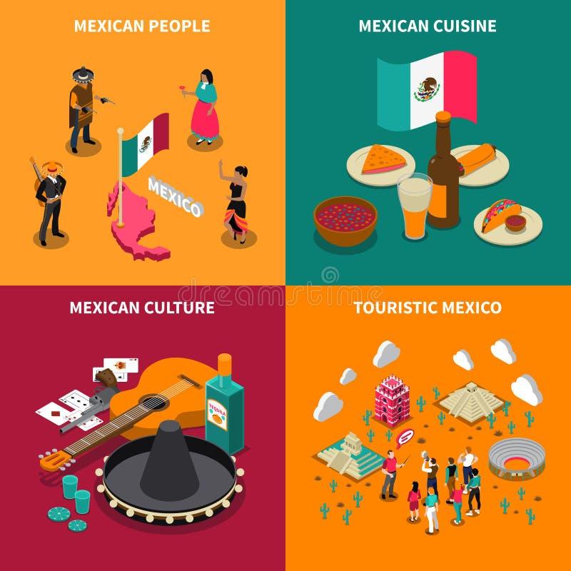 Quadrado isométrico turístico de 4 ícones de México ilustração royalty free