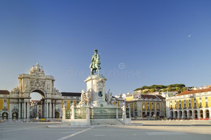 Quadrado Lisboa Portugal do comercio de Praca fotos de stock royalty free