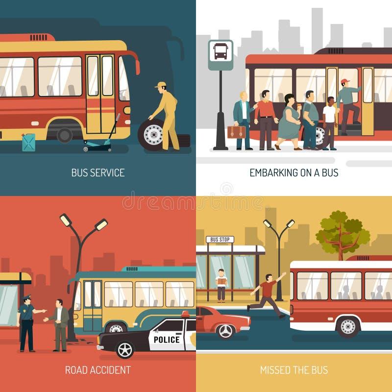 Quadrado liso dos ícones da parada do ônibus 4 ilustração stock