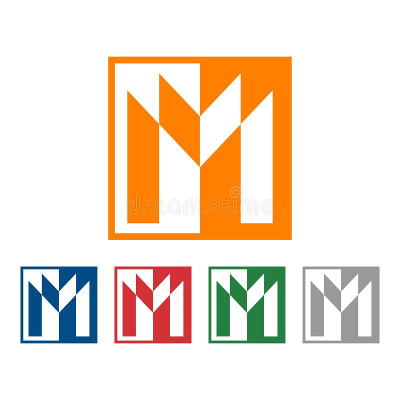 Quadrado M Letter Business Abstract Logo Icon Symbol ilustração do vetor
