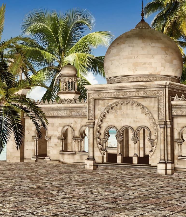 Quadrado oriental com palmeiras ilustração royalty free